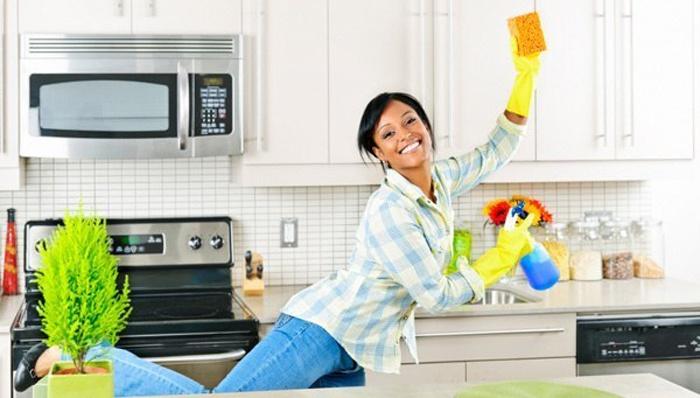 Девушка избавляется от мошек в квартире