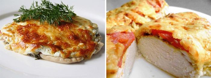 Мясо по французски с курицей и грибами, приготовленное на сковороде