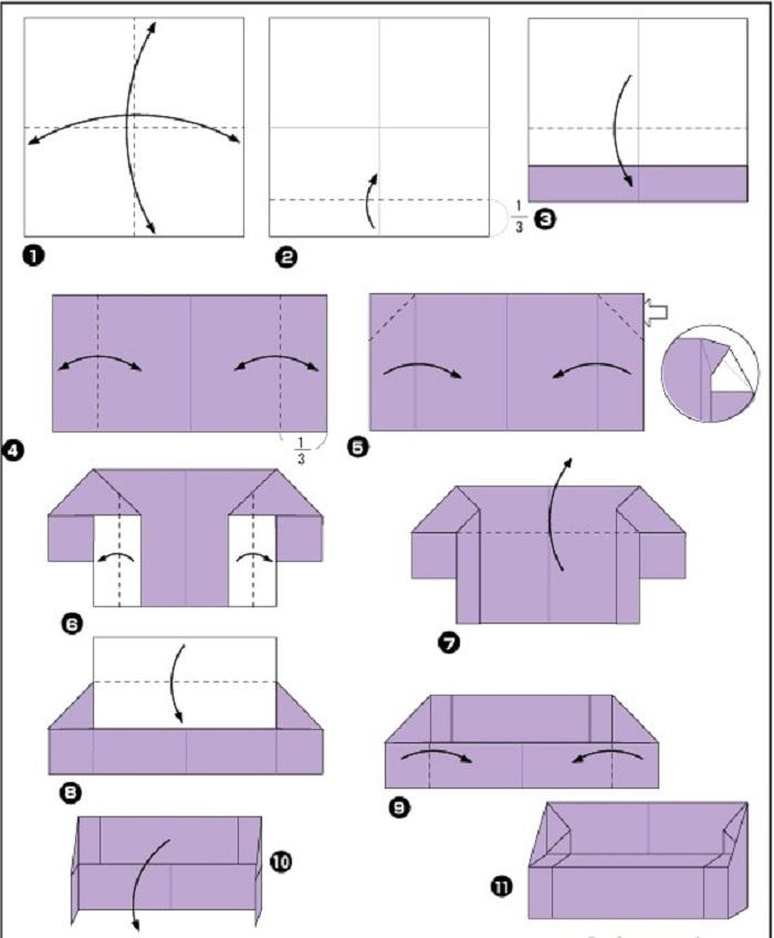 Схема создания мебели из бумаги