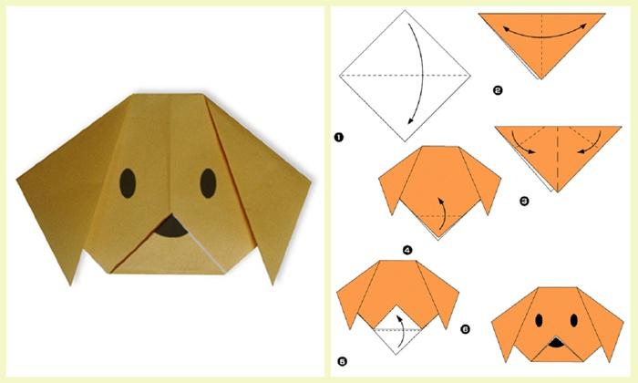 Схема оригами собачки из бумаги