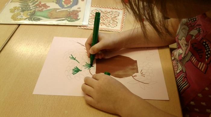 Прорисовка веток осенней композиции