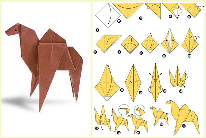 Схема оригами верблюда из бумаги