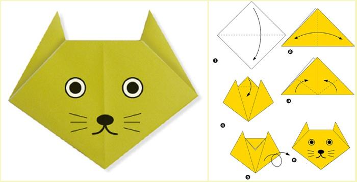 Схема оригами котика из бумаги