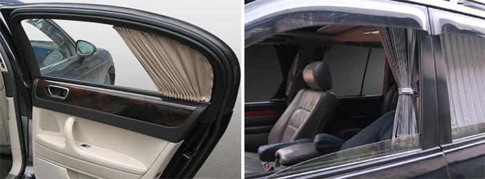 Тканевые солнцезащитные шторки в автомобиле