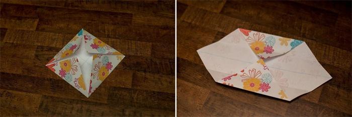 Второй шаг создания коробки оригами