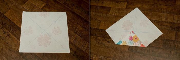 Пошаговое создание коробочки из бумаги - первый этап