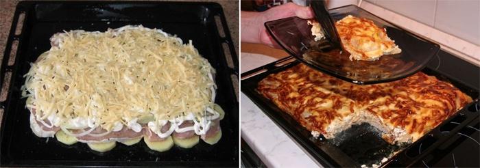 Мясо по французски с курицей и картошкой