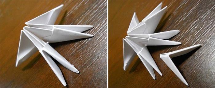 Первый этап создания лебедя из бумаги