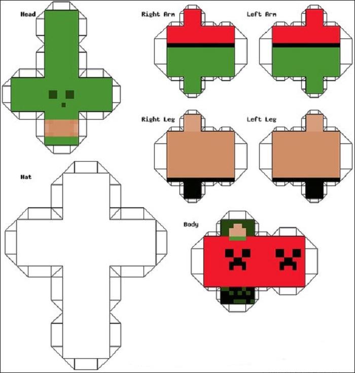 Схема оригами по теме Майнкрафт