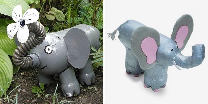 Слоны из пластиковых бутылок для сада