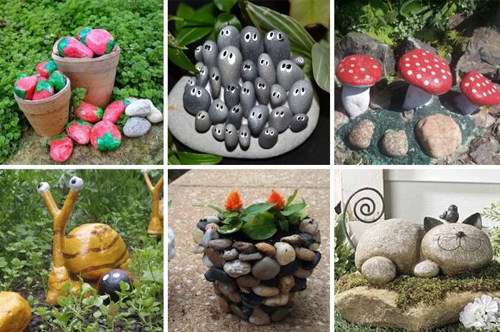 Поделки из камней для сада, сделанные своими руками
