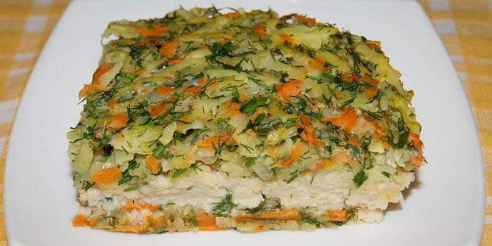 Овощная запеканка с минтаем и рисом