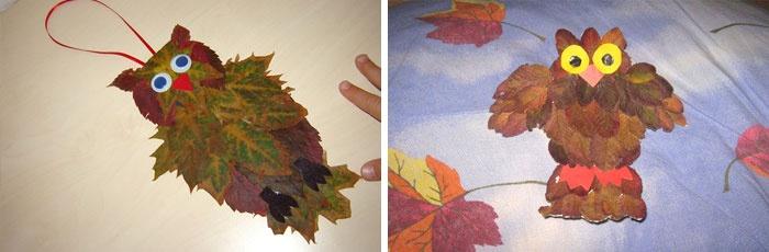 Сова из листьев, сделанная своими руками