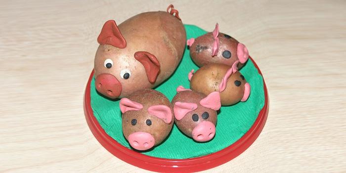 Детские поделки из картошки - Поросята