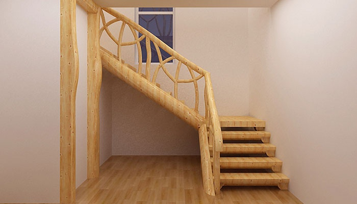 Поворотная угловая лестница на второй этаж