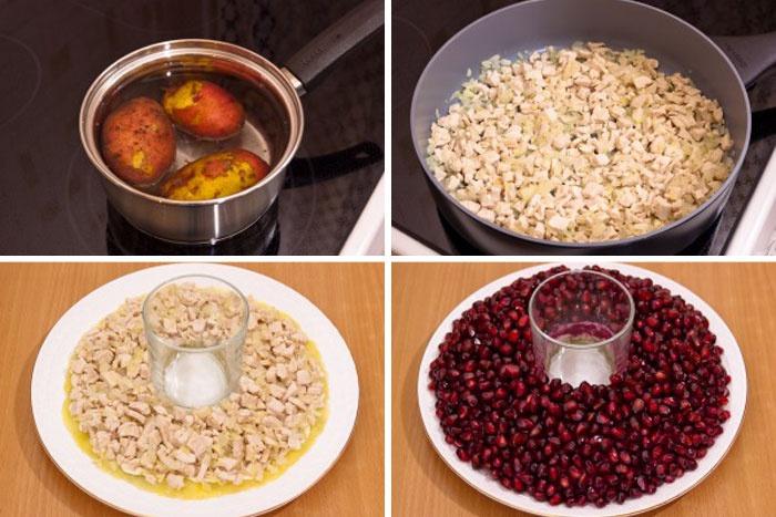 Пошаговое приготовление классического салата Гранатовый браслет