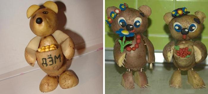 Медведи из картошки, сделанные своими руками