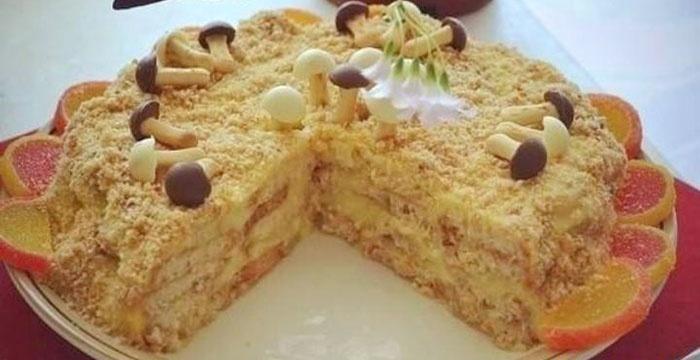 Ленивый Наполеон из печенья, приготовленный дома
