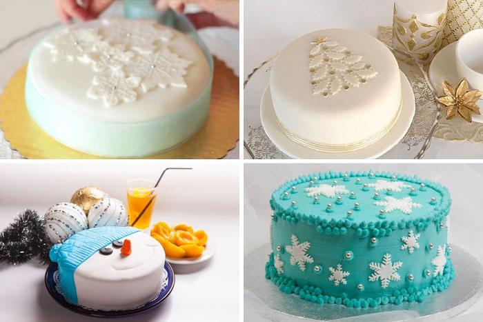Фото украшенных мастикой новогодних тортов