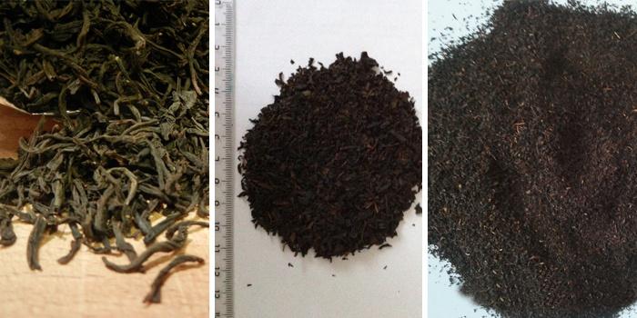 Разновидности черного цейлонского чая по размеру листа