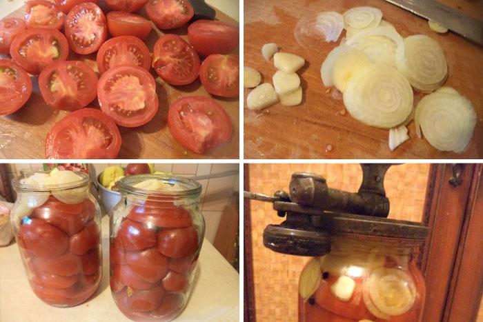 Консервированные половинками помидоры