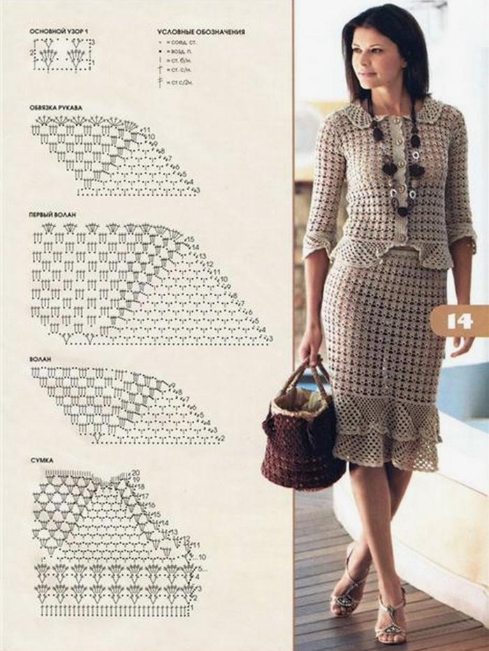 Описание и схема вязания костюма для женщин крючком