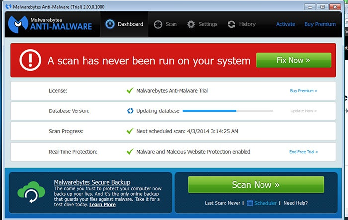 Утилита Malwarebytes Antimalware для удаления вирусов