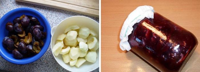 Варенье Слива в шоколаде с яблоками