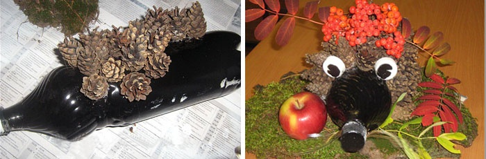 Поделка Ежик из листьев и шишек