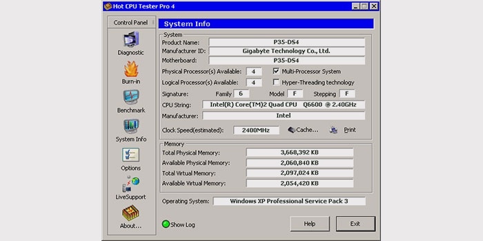Окно программы CPU Tester Pro