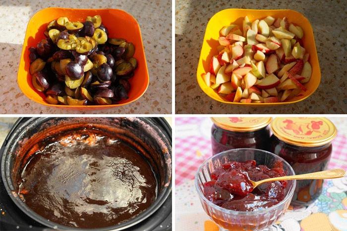 Приготовление яблочно-сливового джема