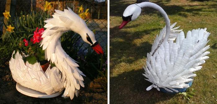 Лебедь из пластиковых бутылок, сделанный своими руками