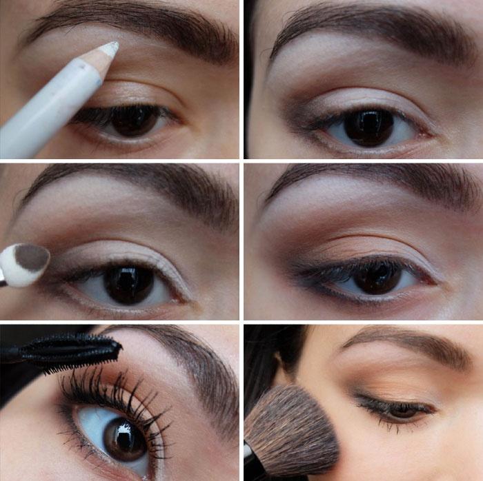 Макияж для карих глаз. Вечерний макияж для карих глаз Макияж глаз для карих глаз блондинке пошагово