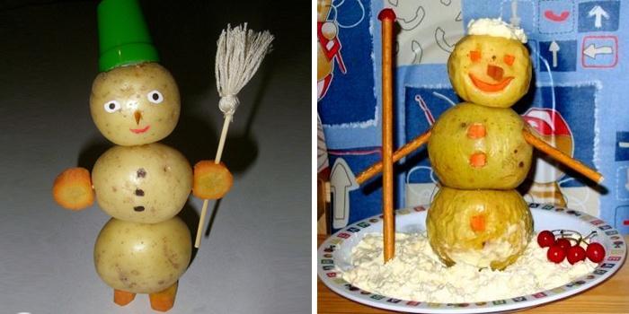 Снеговики из картошки для школы