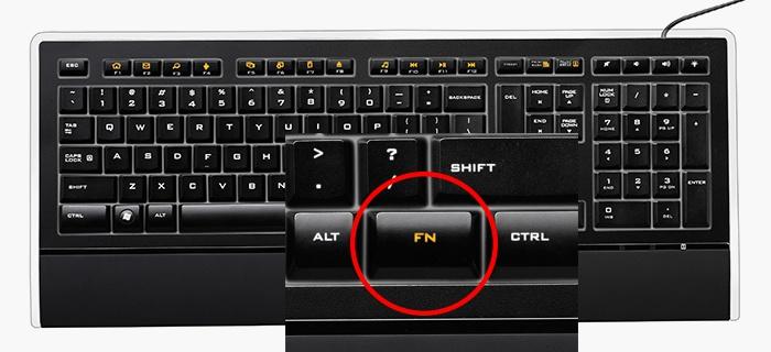 Кнопка Fn для активации необходимых клавиш