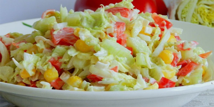 рецепт салата с крабовыми палочками с капустой