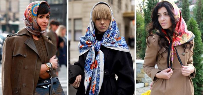 Платок на голове с осенним пальто