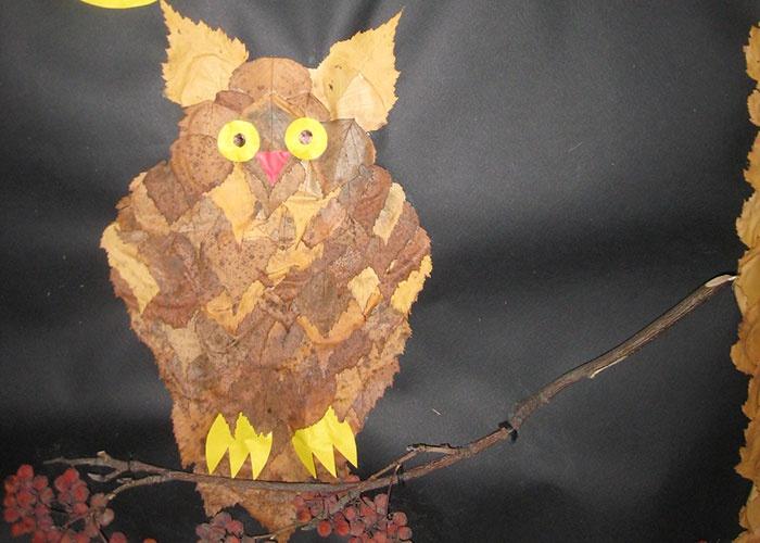 Поделка на тему осень - сова из листьев