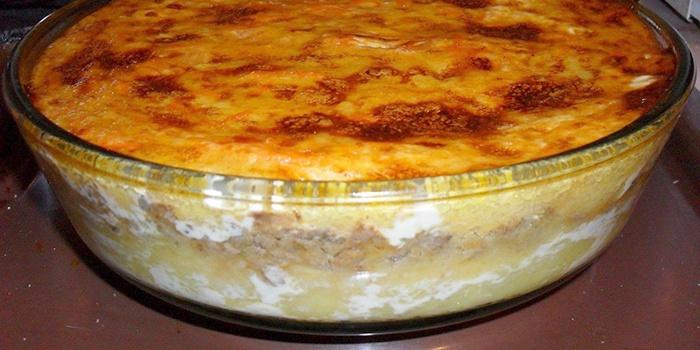Картофельное пюре с фаршем из духовки