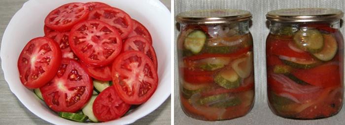 Слоеный салат из помидор на зиму