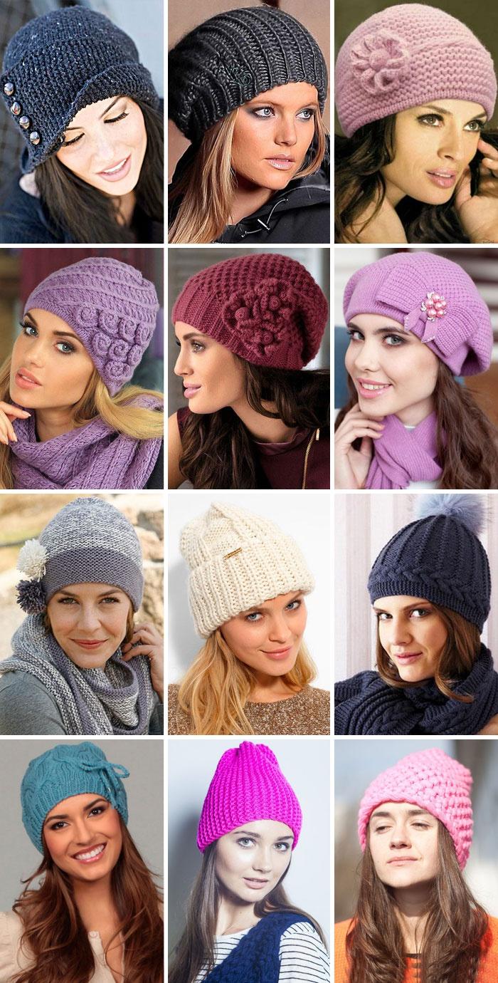 Женская вязаная спицами шапка