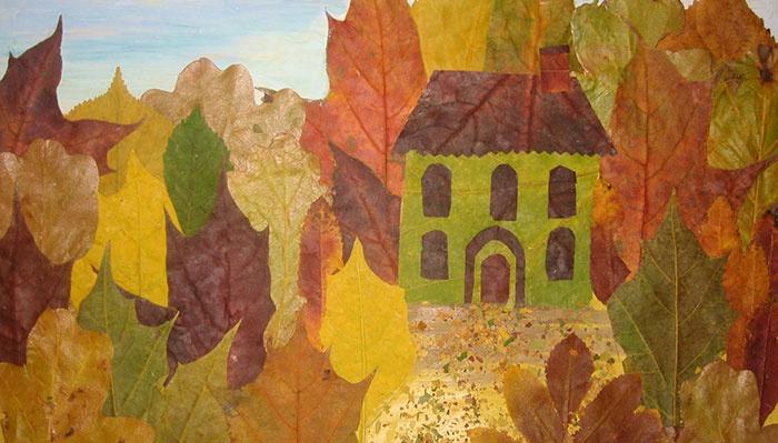 Поделка из листьев на тему осень - Лес
