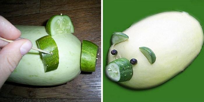 Свинка из овощей