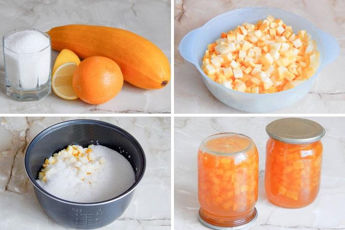 Приготовление десерта с кабачком и апельсином