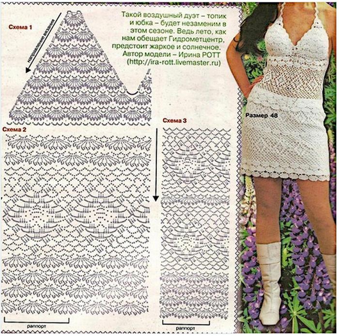 Схема вязания модного женского топа спицами