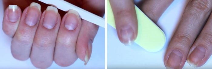 Девушка придает ногтям квадратную форму