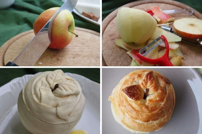 Как запечь яблоко в слоенном тесте