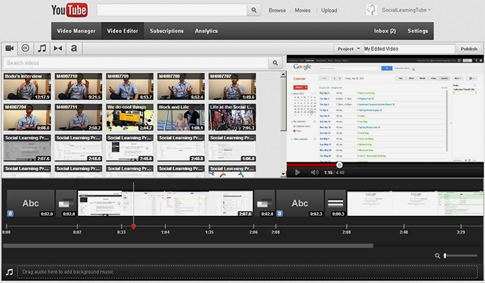 YouTube Video Editor для наложения музыки на видео онлайн