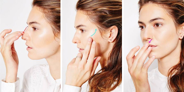 Выделение отдельных зон на лице