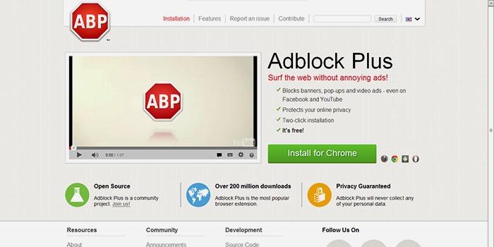 Расширение Adblock для блокировки рекламы